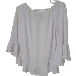 Magazine boho White blouse elastic neck